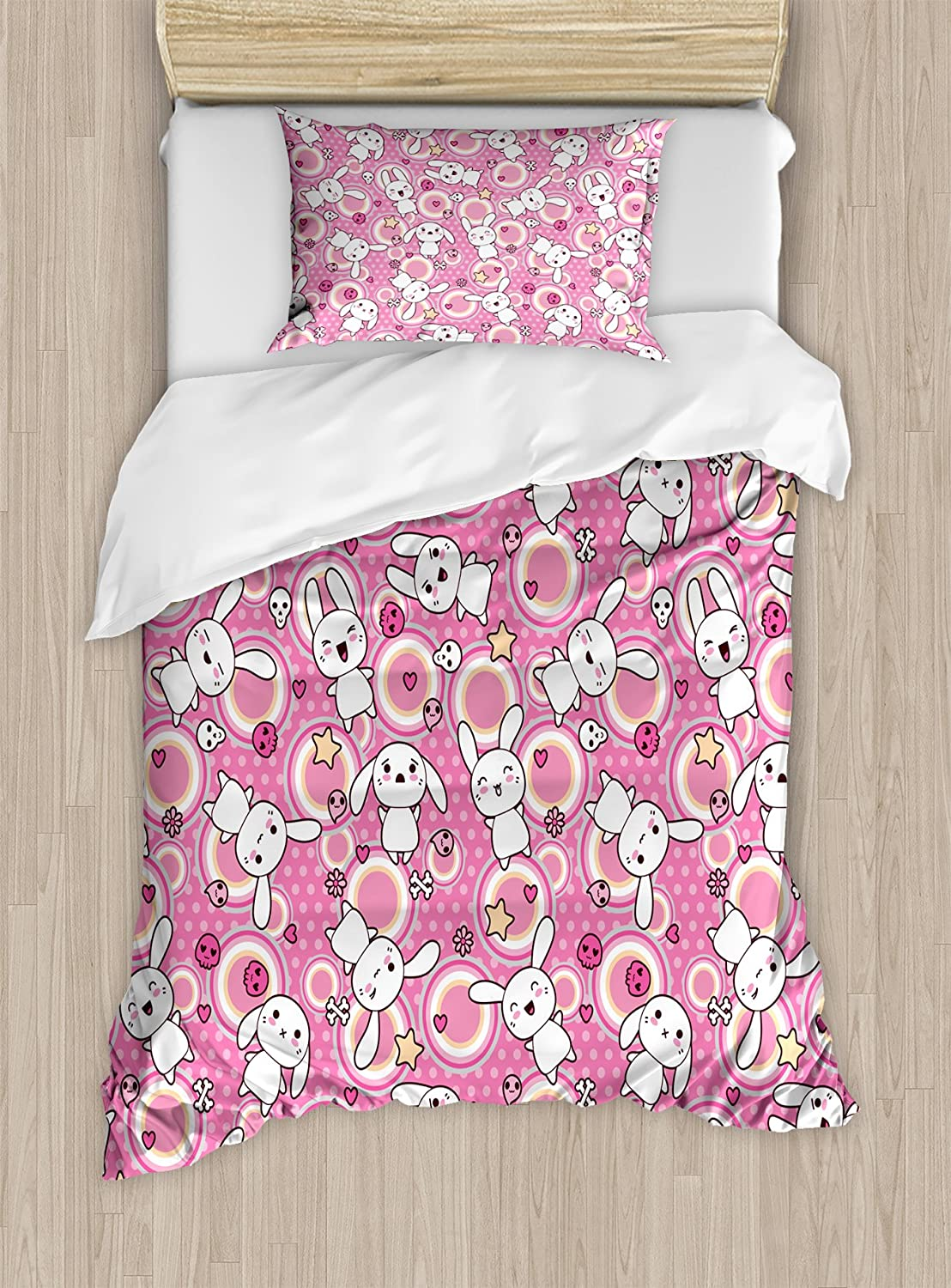 Ambesonne Anime Duvet Cover Set, Funny Kawaii Illustration with Rabbits Funky Animals Bunnies Kids Humor Print, Decorative 2 Piece Bedding Set with 1 Pillow Sham, Twin Size, White Pink