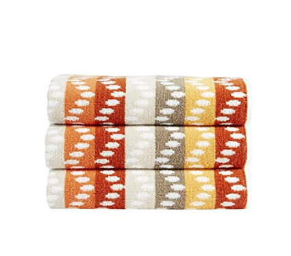 Christy pavía rayas Zig Zag toallas de baño 100% algodón 500gsm, algodón, naranja