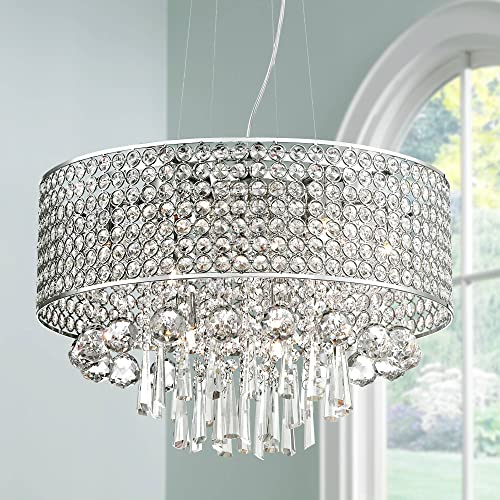 Elva Chrome Drum Pendant Chandelier 19 Wide Beaded Crystal Drum Shade 9-Light Fixture for Dining Room House Foyer Kitchen Island Entryway Bedroom Living Room – Vienna Full Spectrum