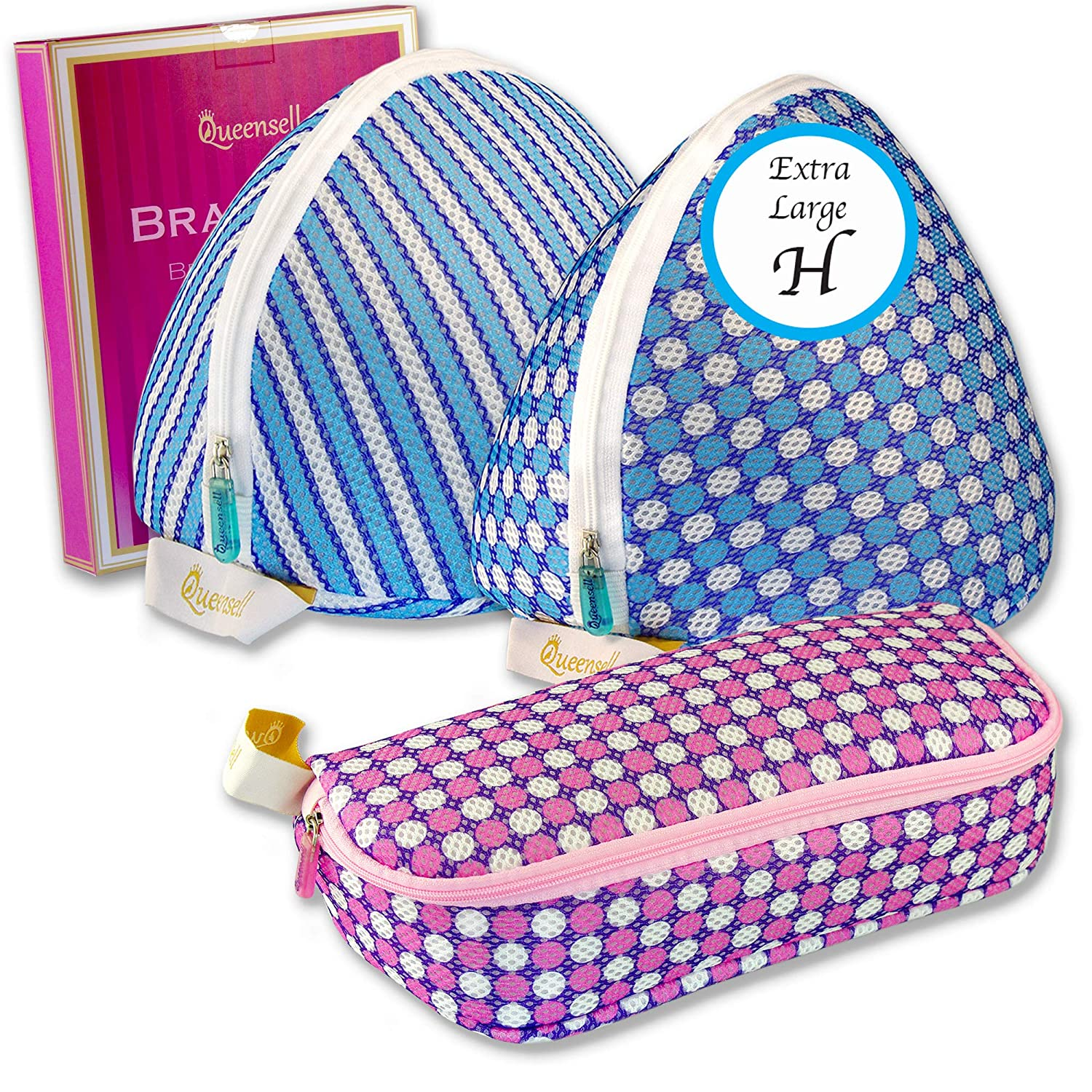 Queensell Extra Large Bra Wash Bag Set of 3 Mesh Laundry Bags for Bras & Panties