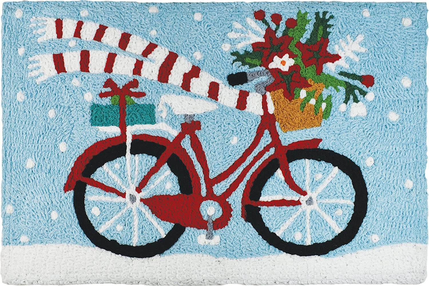 Jellybean Holiday Poinsettia and Presents delivery Bike with Scarf Winter Holiday Accent Rug Home Comfort inc