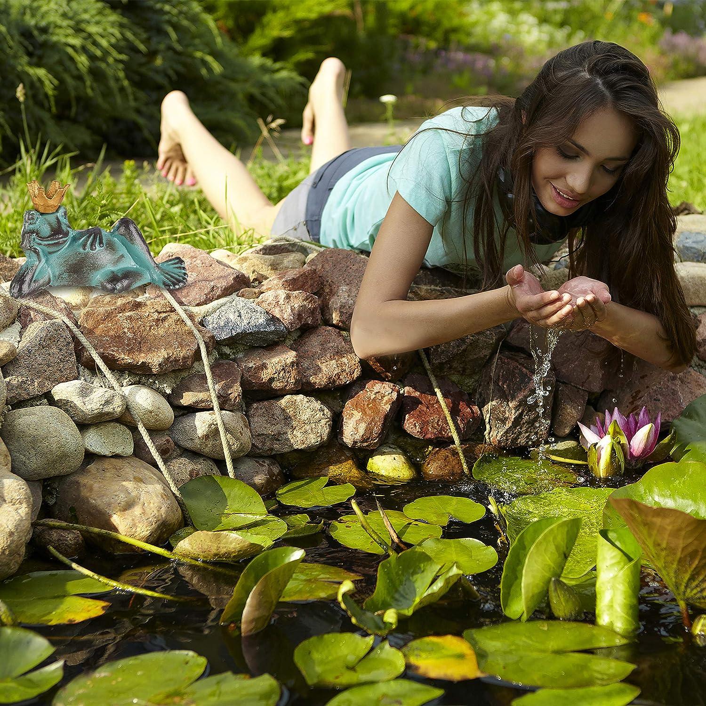 liegender Frosch Dekofigur Relaxdays Gartenfigur Froschk/önig Gusseisen wetterfest Gr/ö/ße M gr/ün mit Krone Balkon
