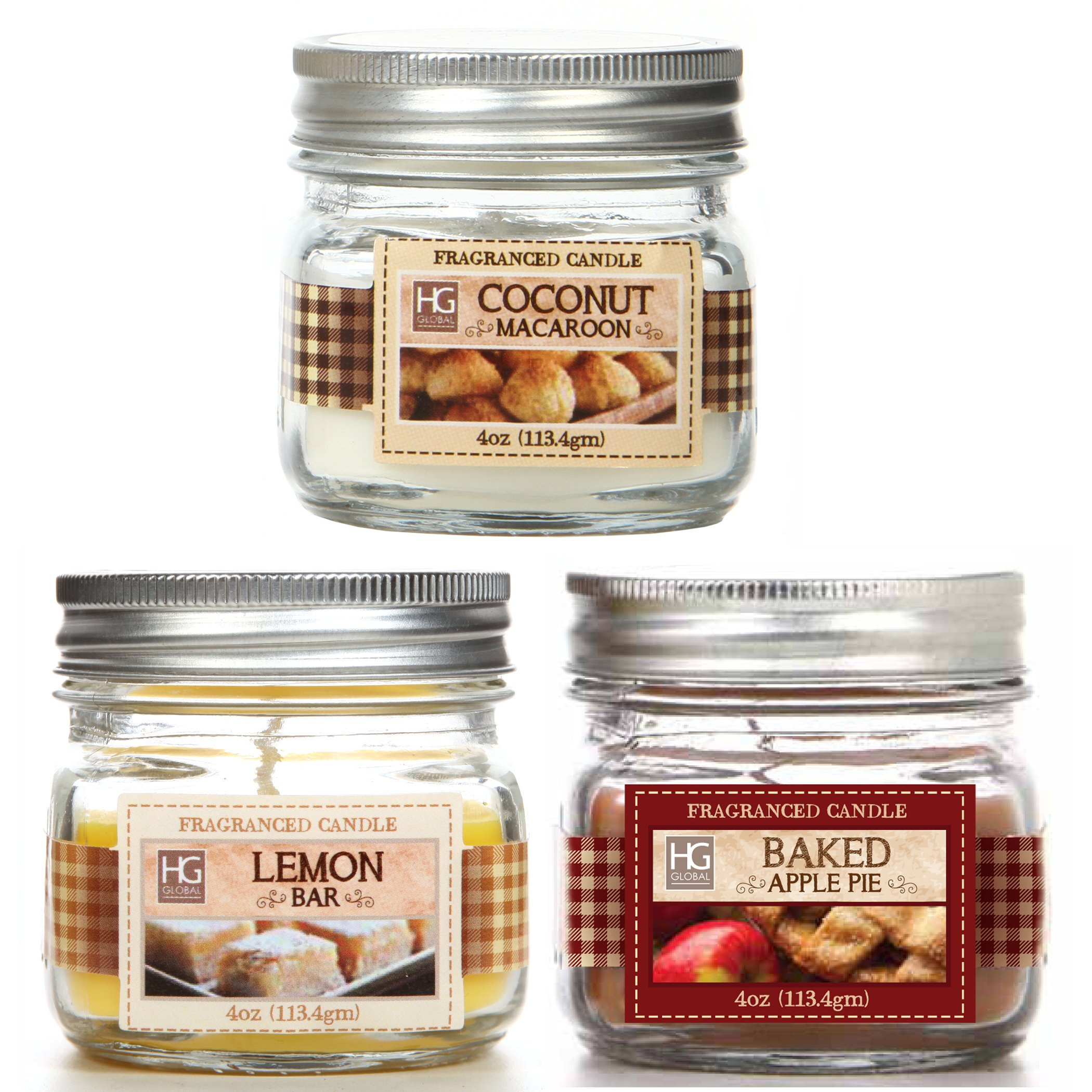 Hosley Set of 3 Jars Candles Baked Apple Pie, Coconut Macaroon, Lemon Bar Scents. 4 oz Each Hand Poured Wax Blend Infused with Essential Oil Ideal Gift for Wedding, Party, Spa O9