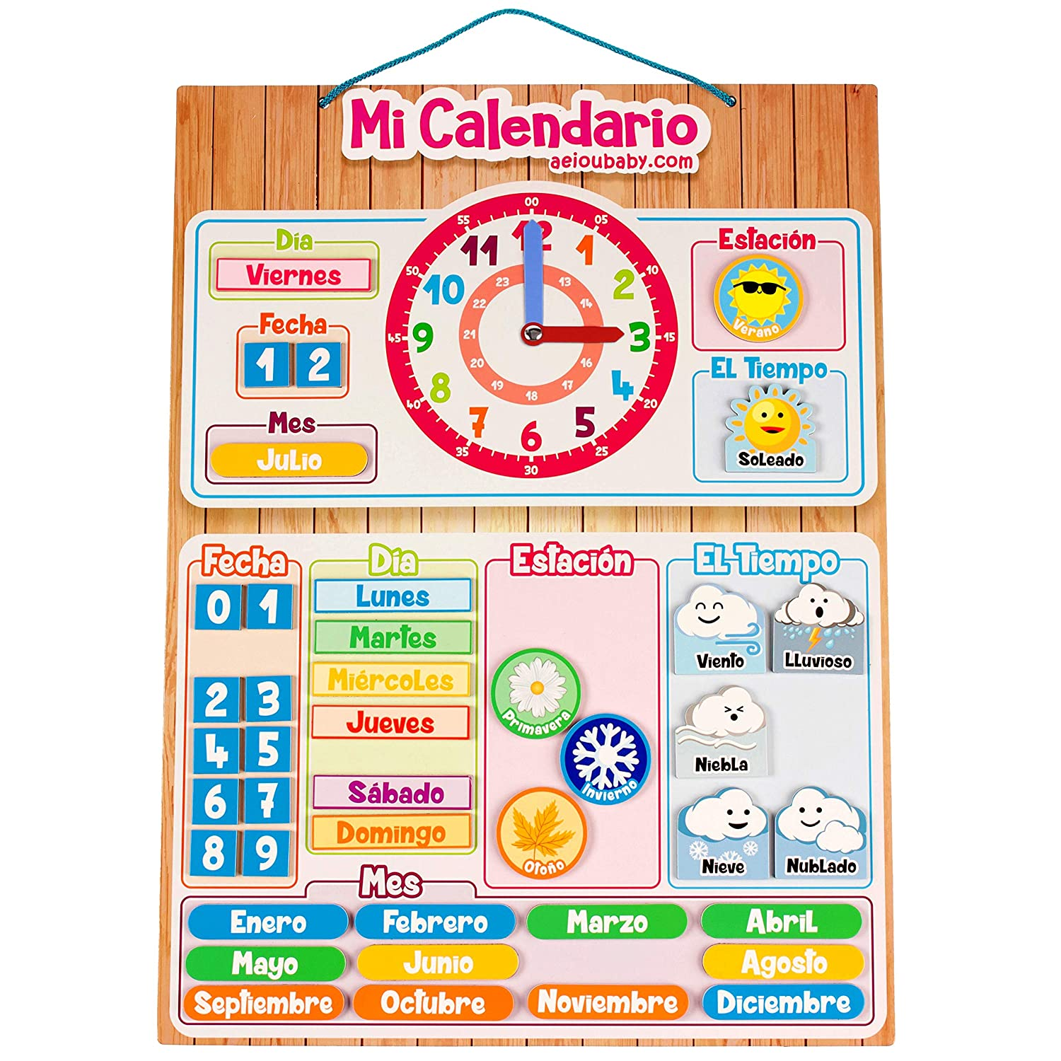 Calendario Julio 2019 Mr Wonderful.Aeioubaby Com Calendar Clock Magnetic For Wall Or Refrigerator Date Weather Time 17x12 6 In