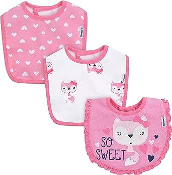 Gerber baberos para niñas de bebé, paquete de 3 baberos - Rosa ...