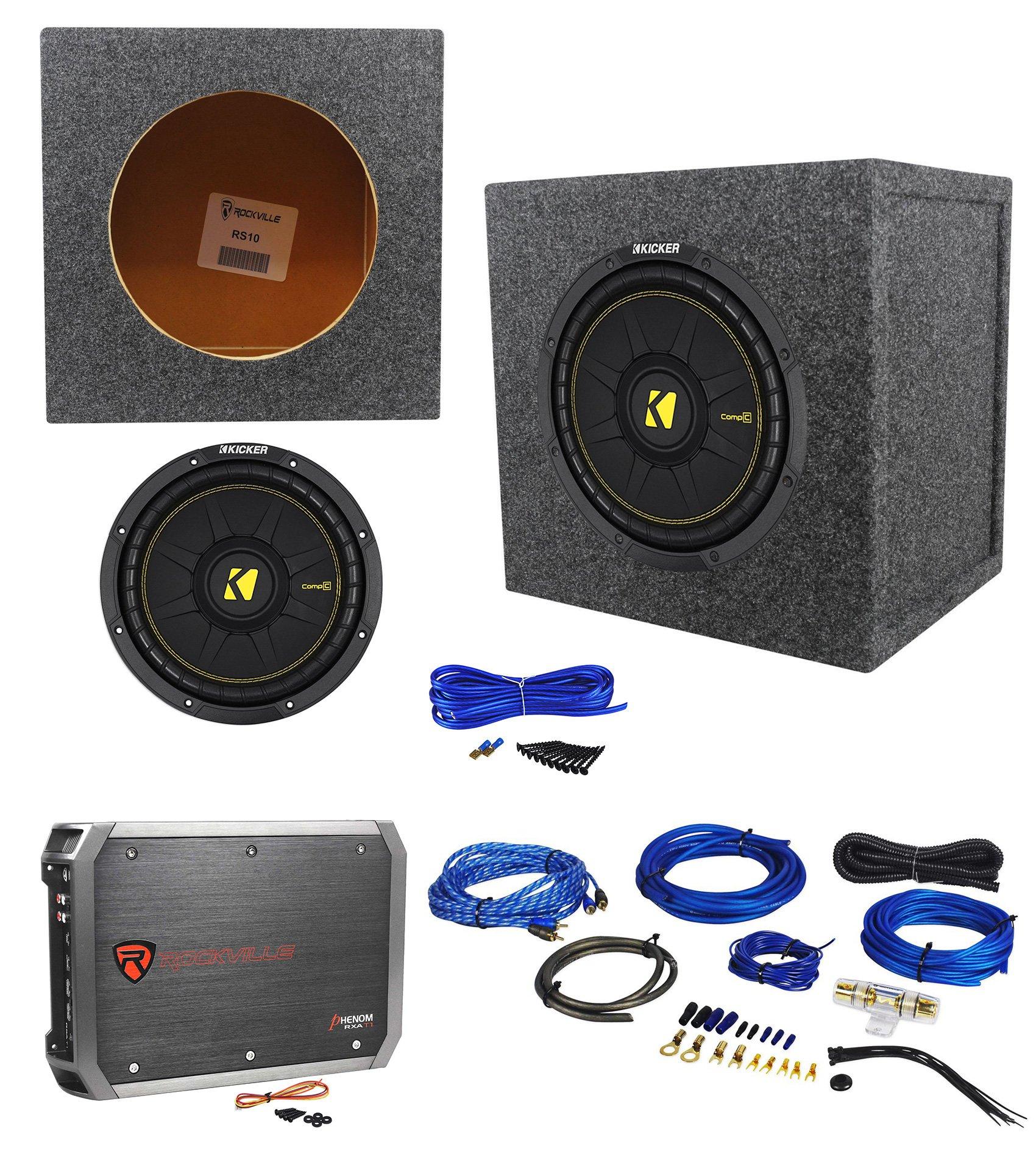 KICKER 44CWCS104 CompC 10'' 600w Car Subwoofer+Sealed Sub Box+Amplifier+Amp Kit