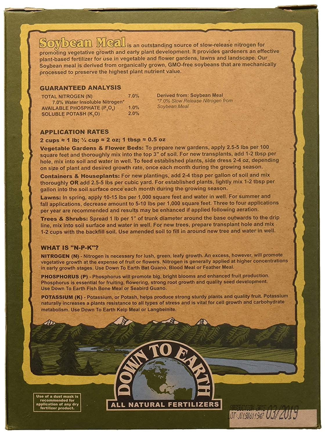 Down to Earth All Natural Soybean Meal Fertilizer 7-1-2, 5 lb