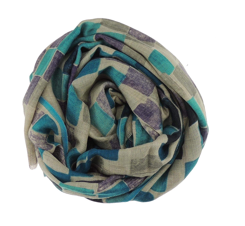 Caldo & da donna, colore: turchese/beige lana Merino da sera & seta Sciarpa, scialle
