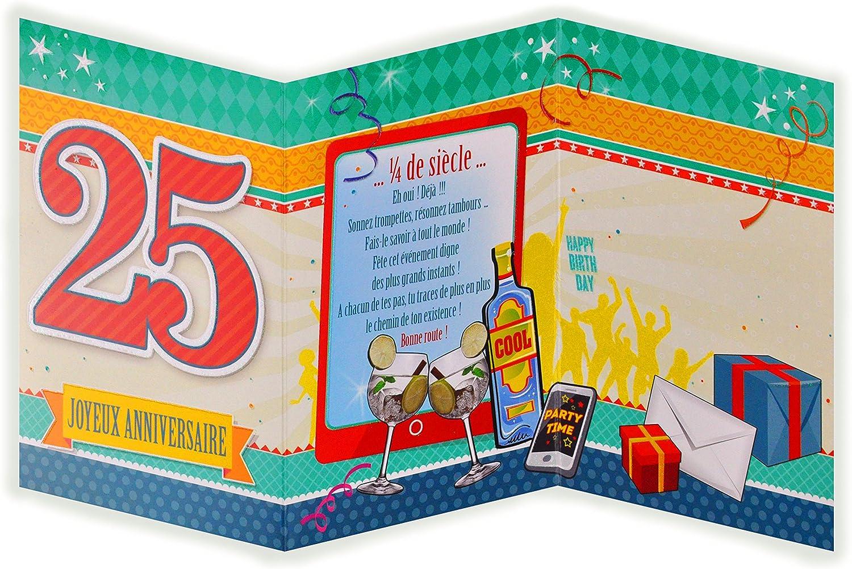 Belle afie 882127 Carte 3 Volets Joyeux Anniversaire 25 ans: Amazon.fr UA-14