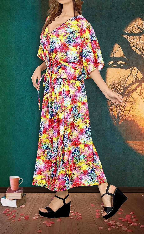 LA LEELA Womens One Size Kaftan Wedding Dresses Sleepwear Cover Ups Drawstring