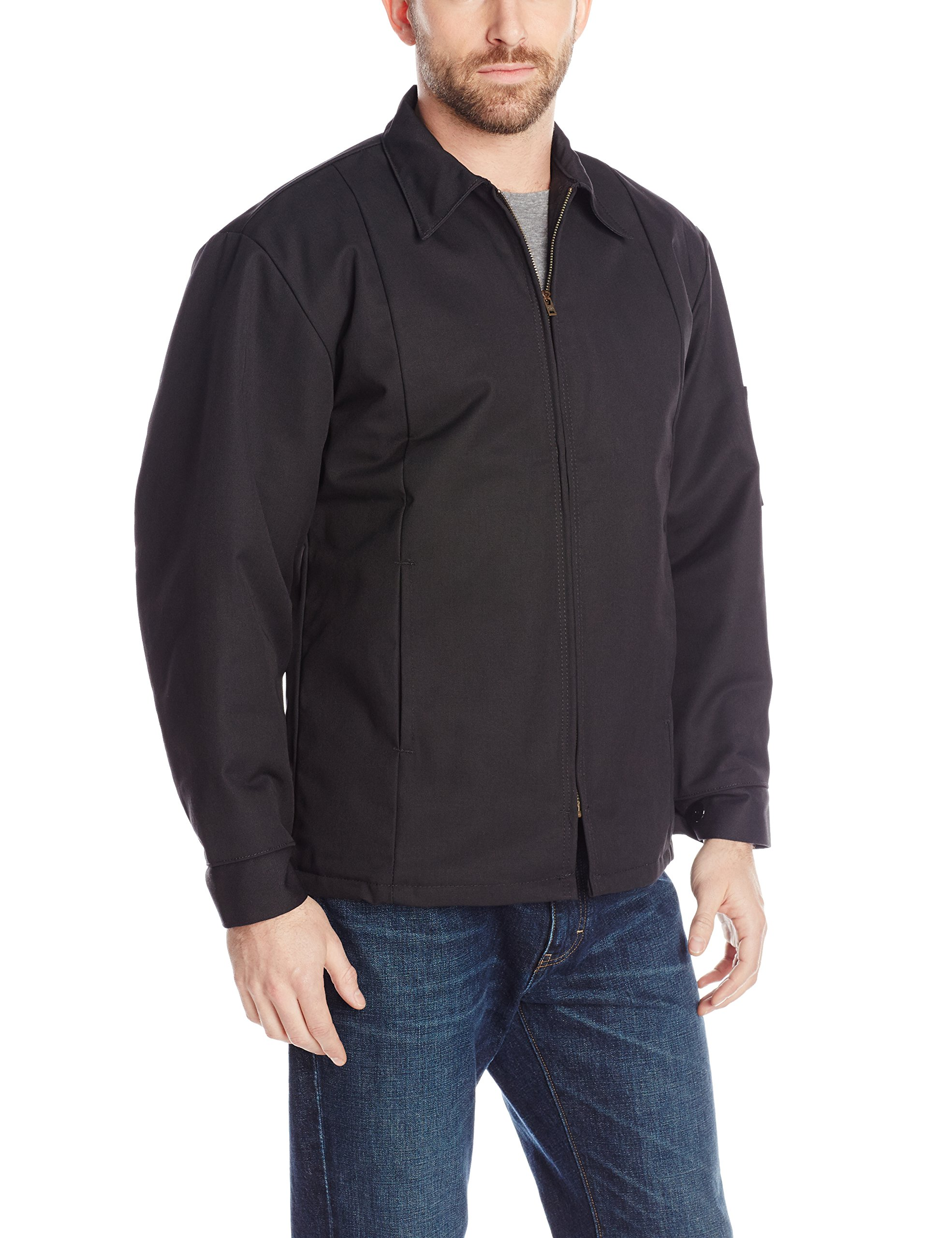 Red Kap Men's Perma-Lined Panel Jacket, Black, 4X-Large by Red Kap