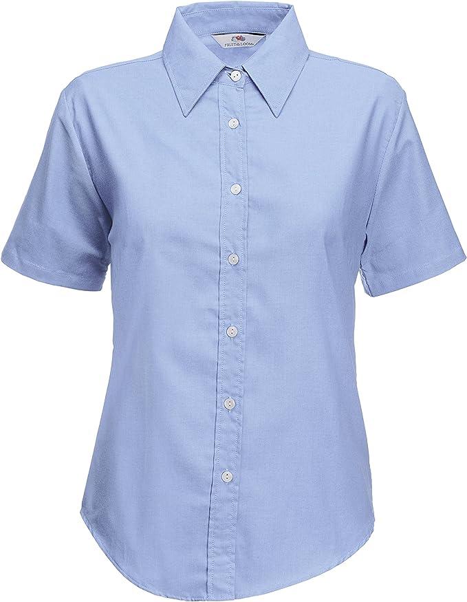 Girls Women Poly-cotton School Shirt Sky Blue White Long Short Sleeve Shirts Off
