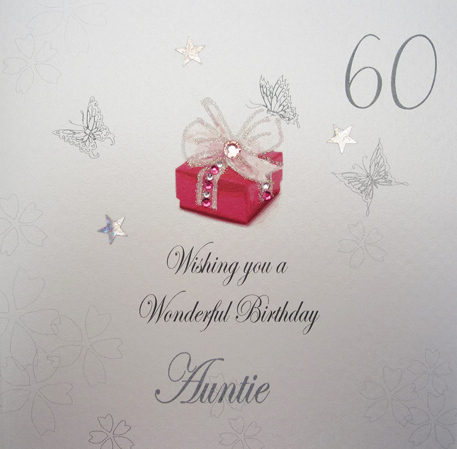 White cotton cards bdp60 a red present wishing you a wonderful white cotton cards bdp60 a red present wishing you a wonderful birthday auntie handmade 60th birthday card white amazon kitchen home kristyandbryce Choice Image