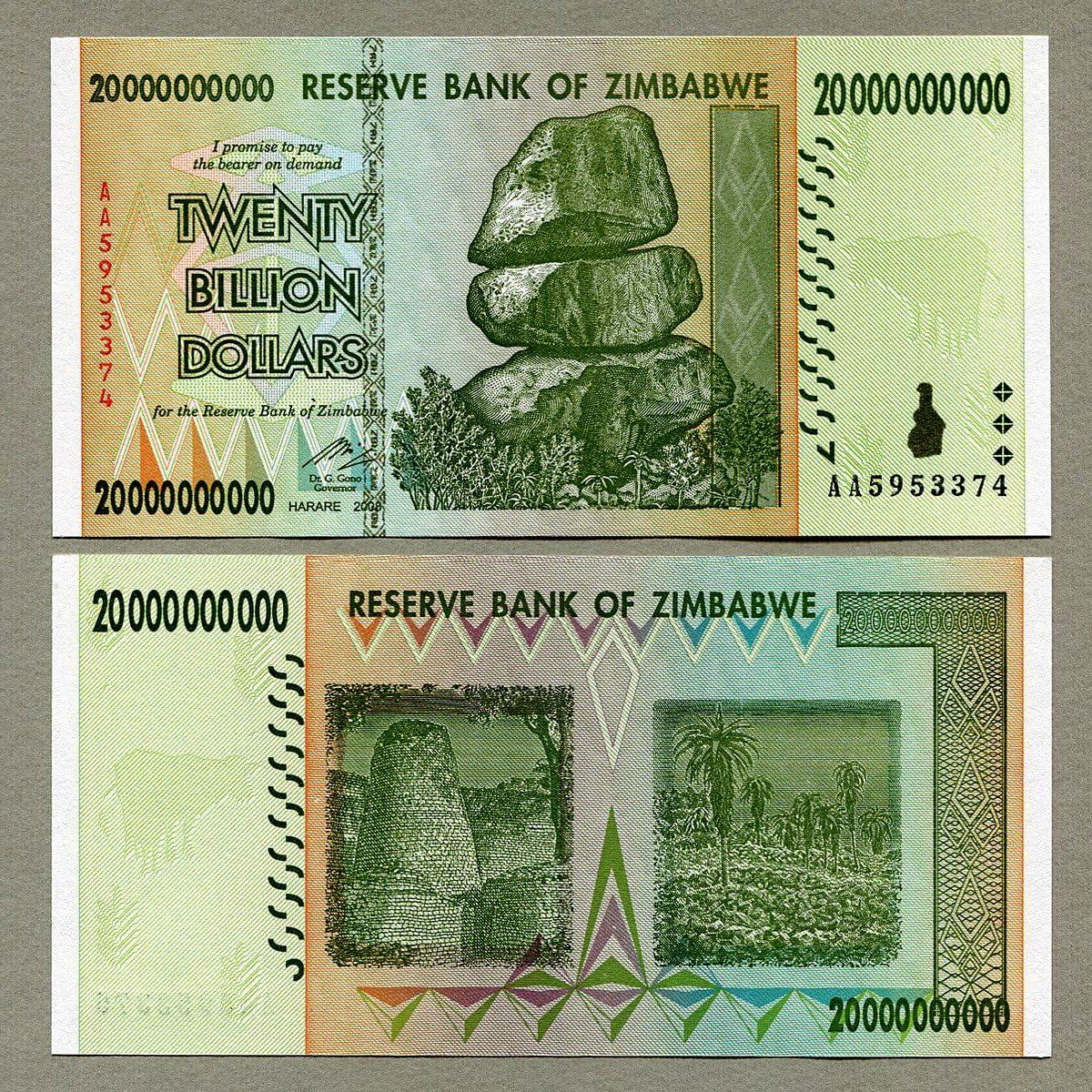 10 Trillion Zimbabwe Dollars x 20 Banknotes AA 2008 20PCS Guaranteed Authentic