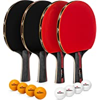 Redcat Sport Ping Pong Set of 4 Paddles with Balls - This Table Tennis Racket Set with Accessories and Portable Carry Bag is Perfect for Professional Play and Amateurs Alike - Use Indoor or Outdoor