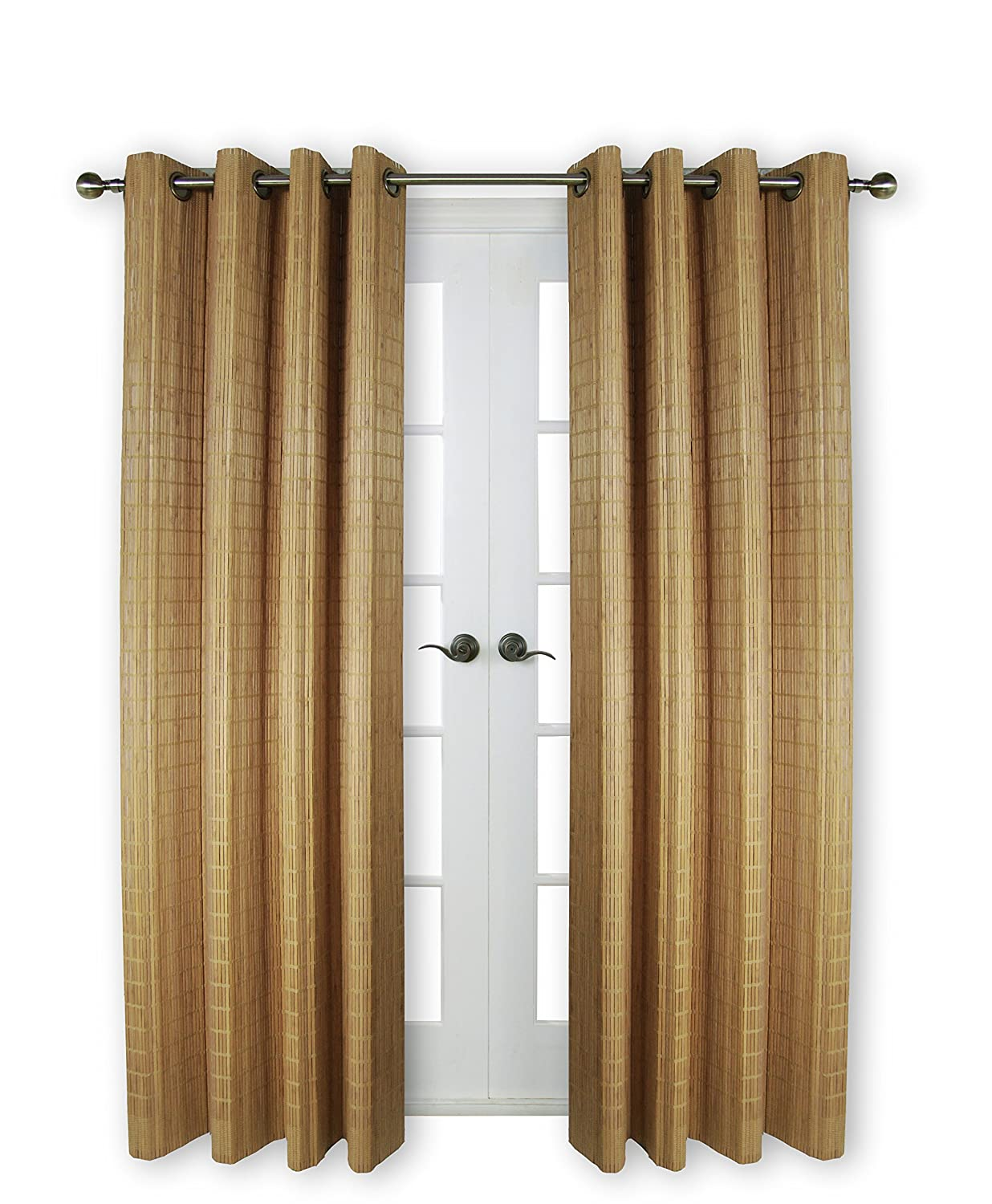 Versailles Home Fashions BPU144884-9 Bamboo Wood Curtain Panel with Grommets, 48-Inch x 84-Inch, 09 Teak Versailles Home Fashions Inc
