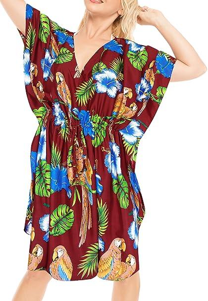 LA LEELA caftán Ropa de Playa del Traje de baño del Bikini de Las Mujeres Cubre para Arriba el Vestido Maxi Kimono Rojo Ocasionales: Amazon.es: Ropa y ...