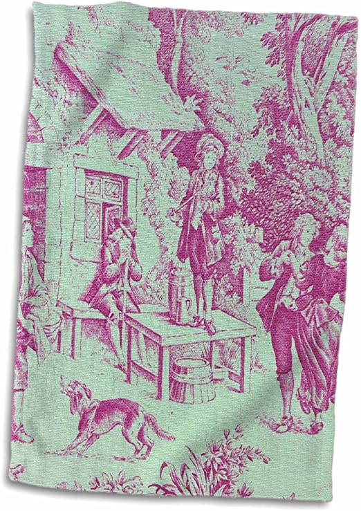 3D Rose Garden French Yellow and Blue Popular Toile Print Hand Towel 15 x 22