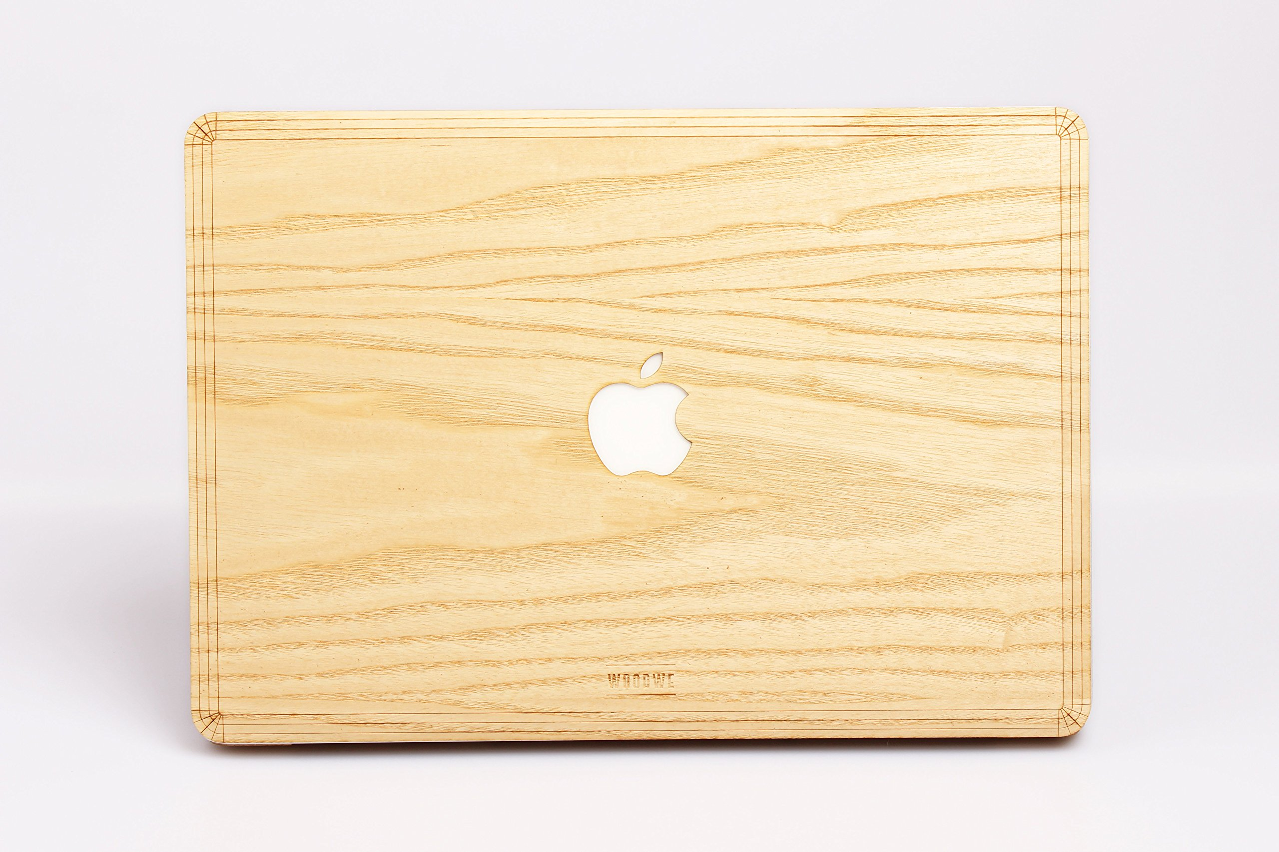 WOODWE Real Wood MacBook Skin Sticker Decal for Mac 12 inch | Model: A1434; Early 2015 – Mid 2017 | Genuine & Natural ASH Wood | TOP&Bottom Cover
