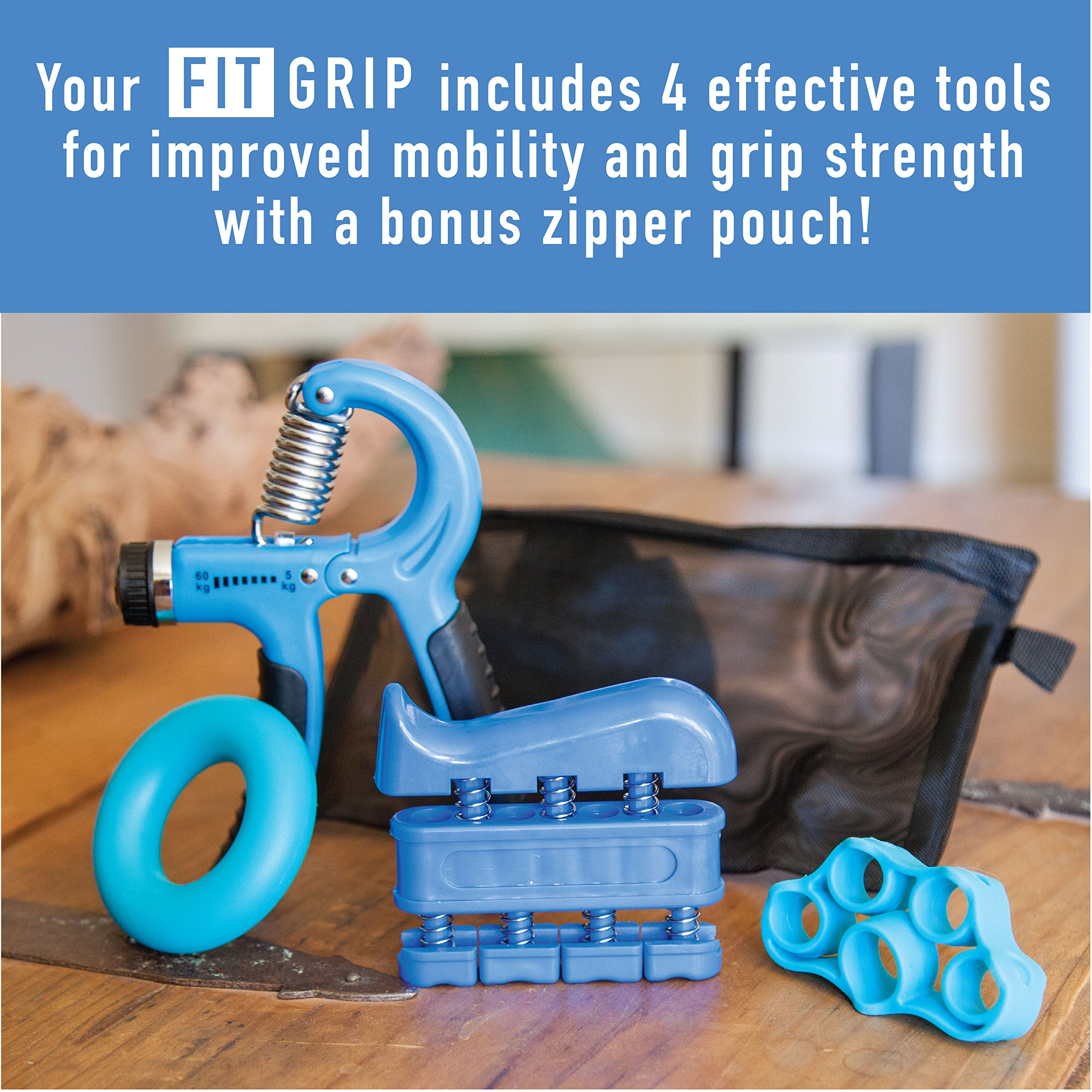 Hand Grip Strength and Forearm Trainer 4-Pack Bundle: Resistance Grip Strengthener, Finger Trainer, Finger Exerciser Stretcher, Grip Ring | Ideal for Athletes, Therapy for Arthritis, Carpal Tunnel by Fit Grip (Image #2)