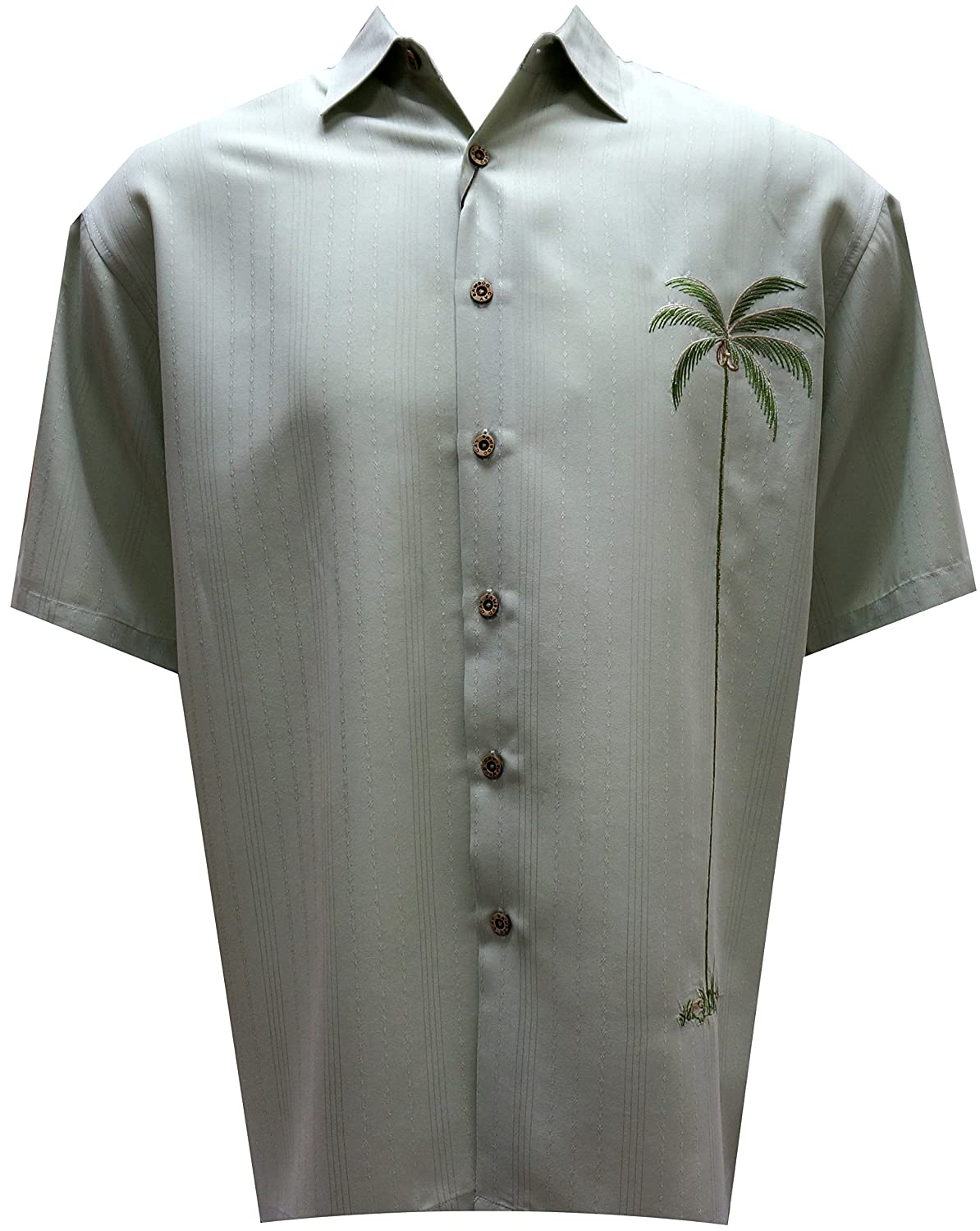 Bamboo Cay Men's Single Palm, Tropical Style Casual Embroidered Shirt