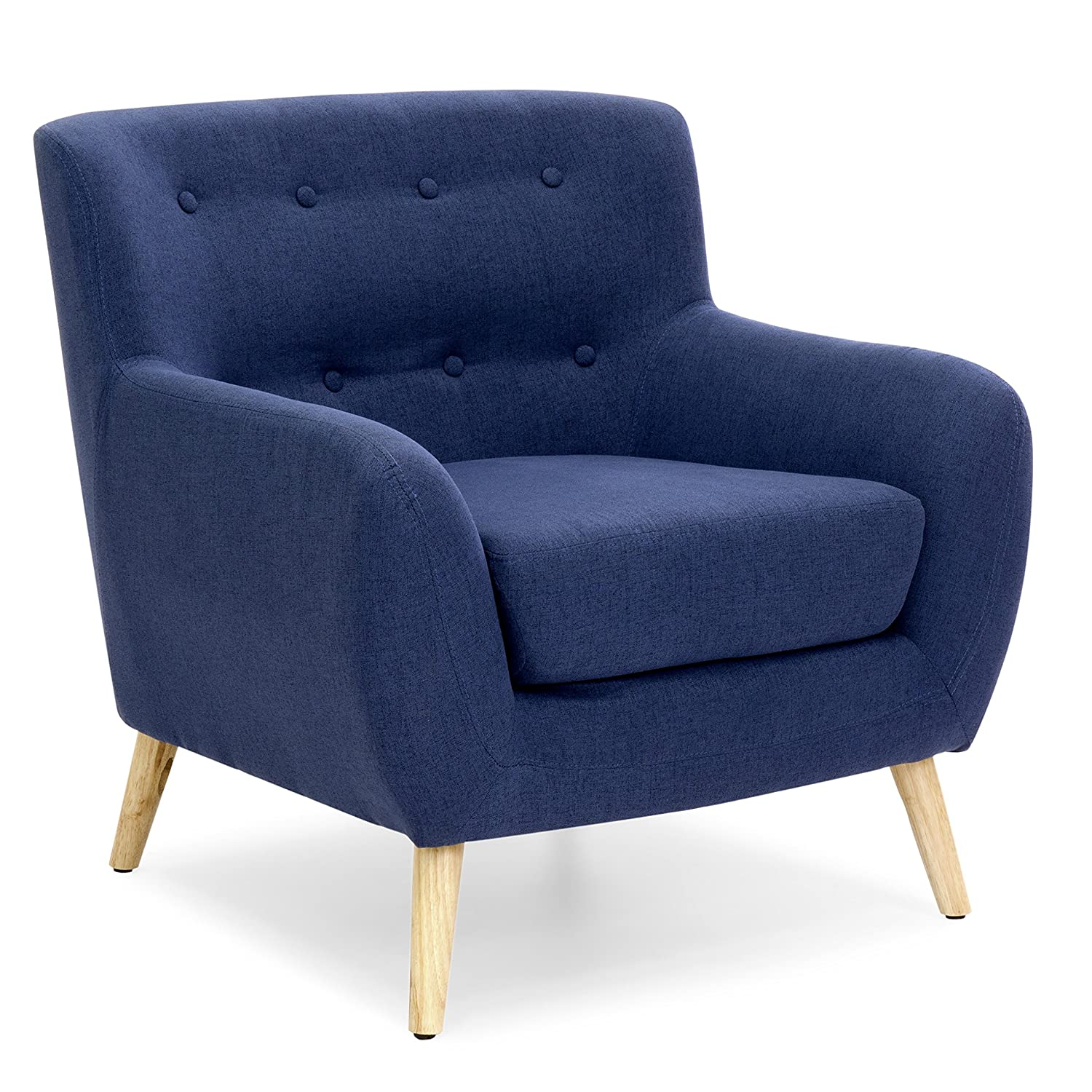 Amazon.com Best Choice Products Mid-Century Modern Linen Upholstered Button Tufted Accent Chair for Living Room Bedroom - Dark Blue Kitchen u0026 Dining  sc 1 st  Amazon.com & Amazon.com: Best Choice Products Mid-Century Modern Linen ...