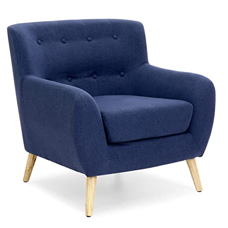 . Best Choice Products Linen Upholstered Modern Mid Century Tufted Accent  Chair for Living Room  Bedroom  Dark Blue