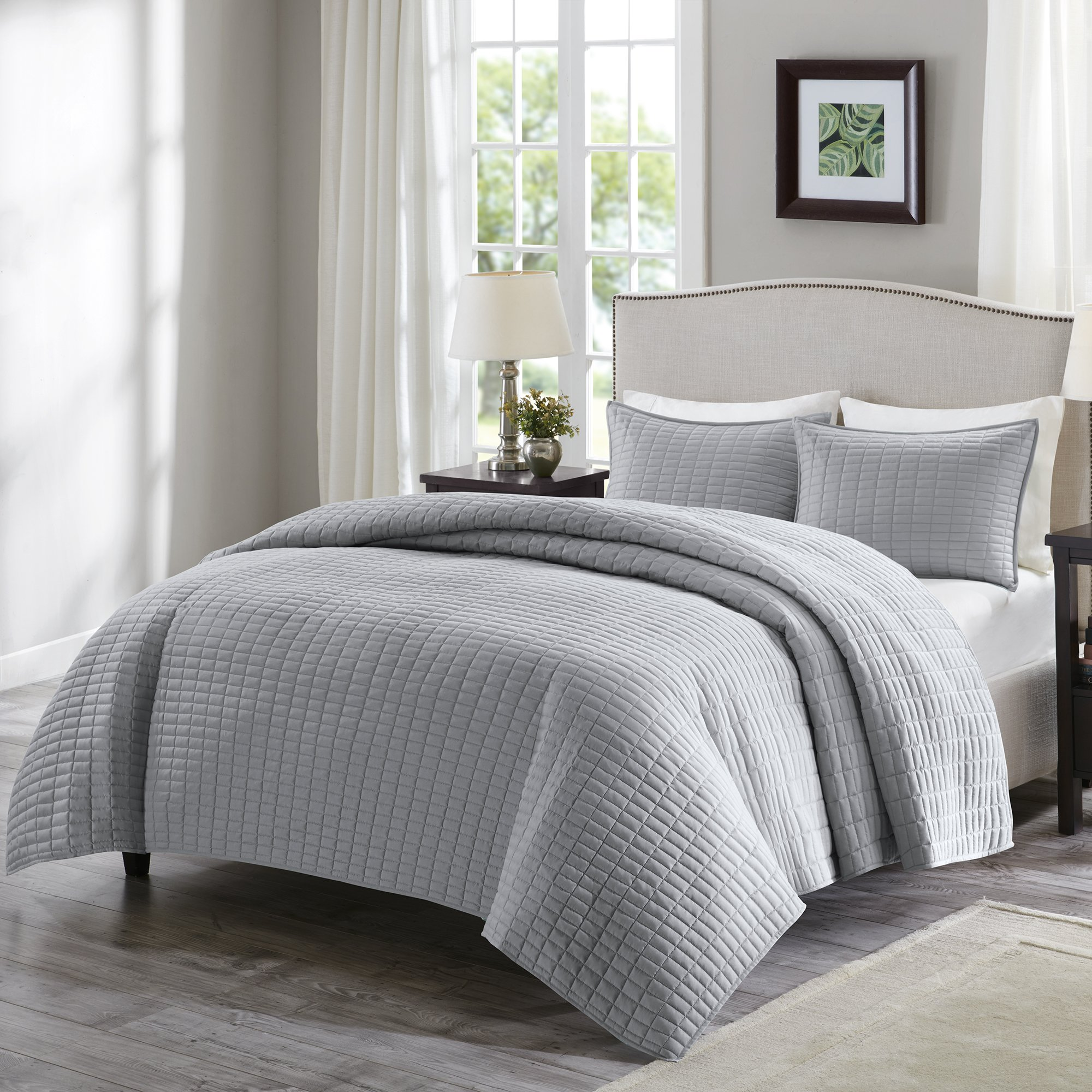 Comfort Spaces - Kienna Quilt Mini Set - 2 Piece - Gray- Stitched Quilt Pattern - Twin/Twin XL size, includes 1 Quilt, 1 Sham
