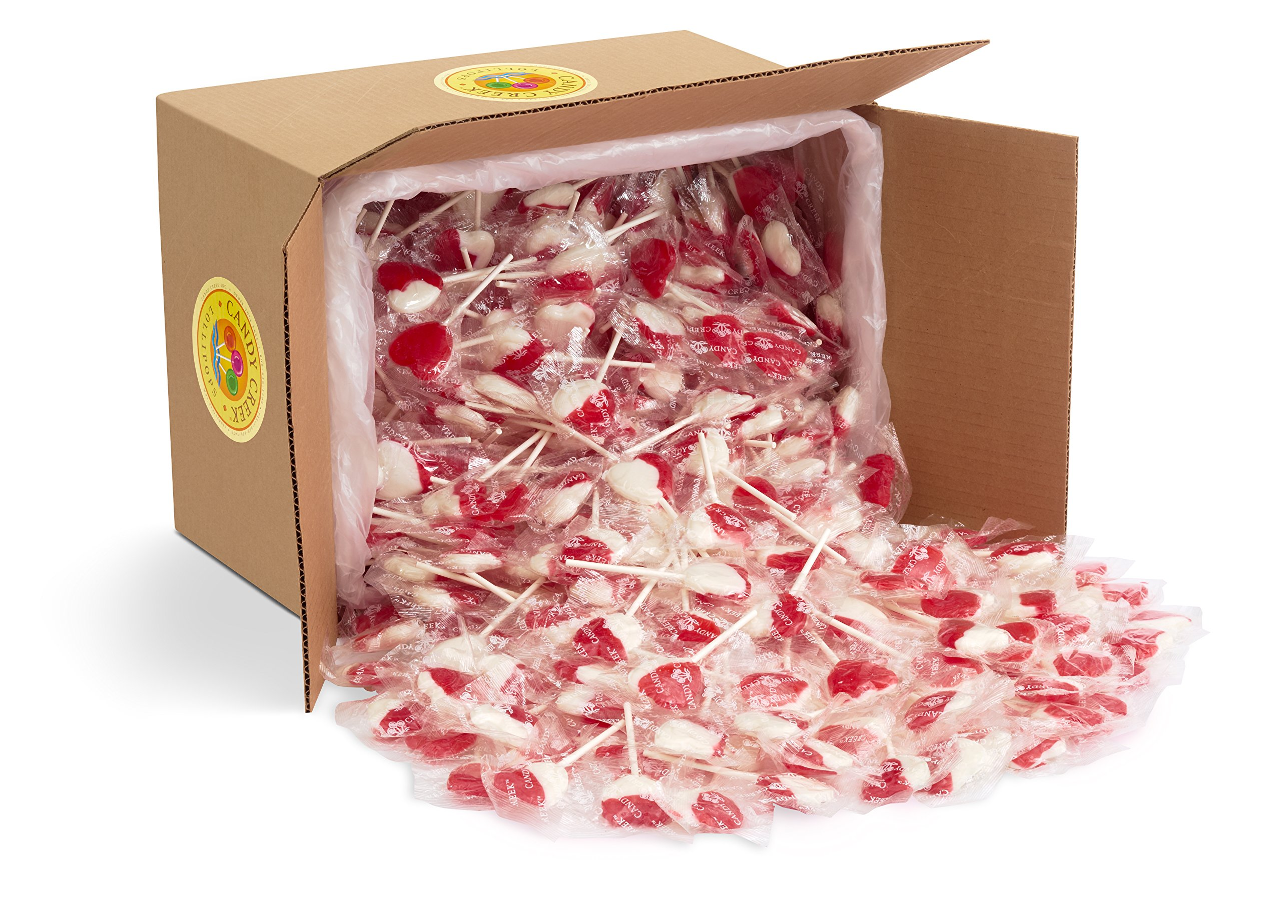 Heart Lollipops by Candy Creek, Bulk 18 lb. Carton, Strawberry Cream Valentine's Candy by Candy Creek Lollipops