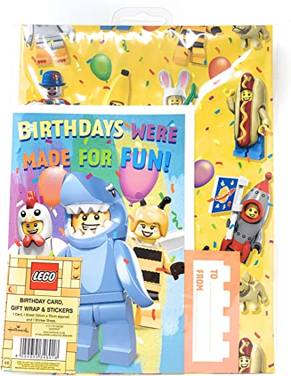 Lego Carte D Anniversaire Feuille De Papier Cadeau Et Autocollants 25532027 Amazon Fr Fournitures De Bureau