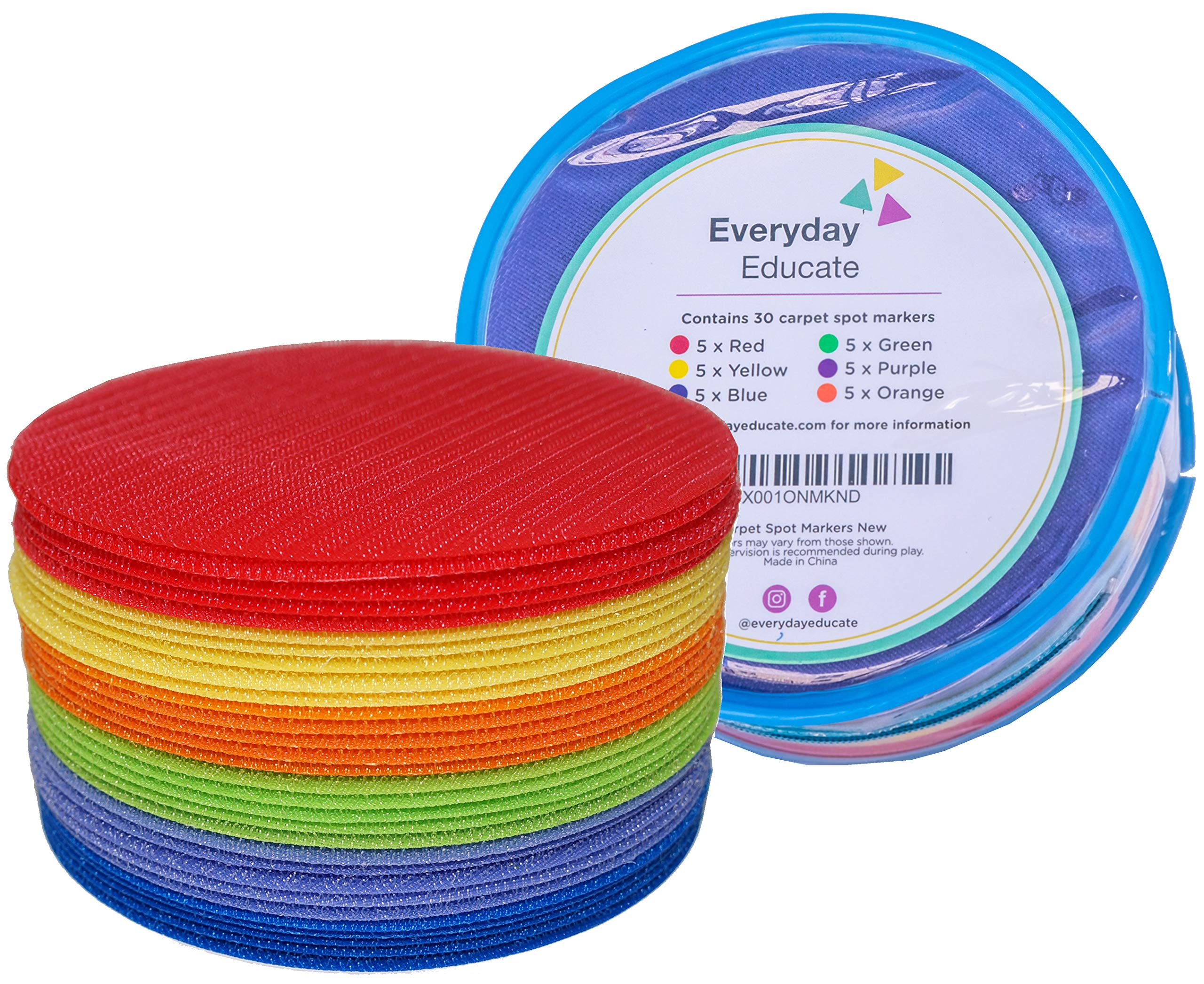 Everyday Educate Carpet Markers Sitting Spots - Amazing Classroom Supply, Flexible Seating - 5'' Diameter (30 Circle) - Makes Great Teacher Gift by Everyday Educate (Image #1)