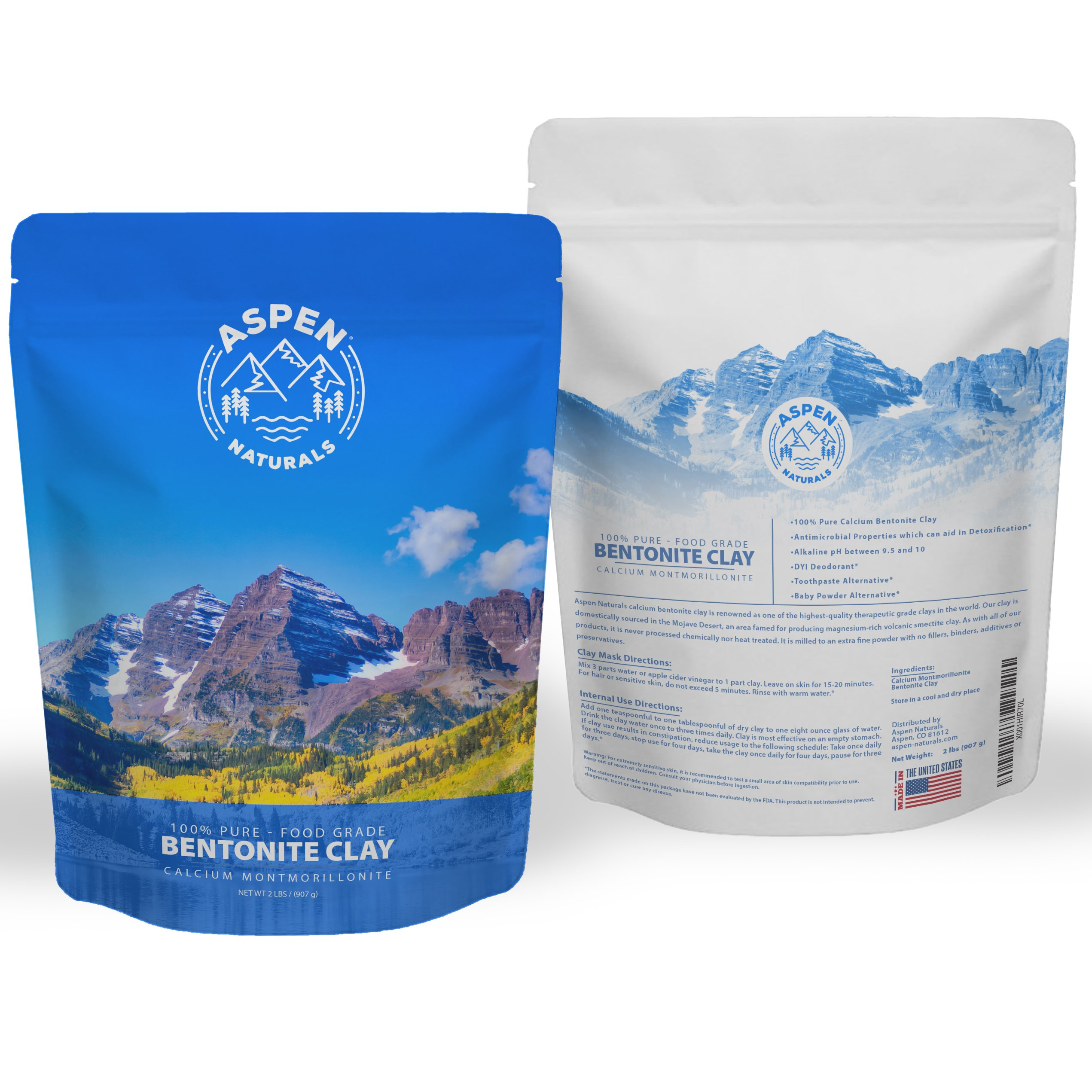 Food Grade Calcium Bentonite Clay - 2 LB Bentonite Montmorillonite Powder - Safe to Ingest for The Ultimate Internal Detox or Make a Clay Face Mask for The Best Natural Skin Healing Powder by Aspen Naturals® (Image #9)