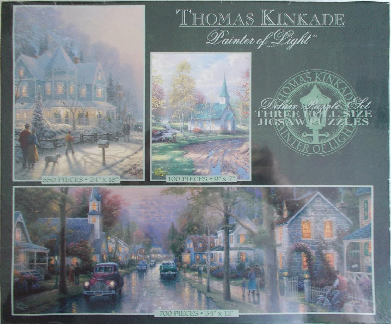 Deluxe Puzzle Set 3 Full Size Puzzles Thomas Kinkade Painter of Light