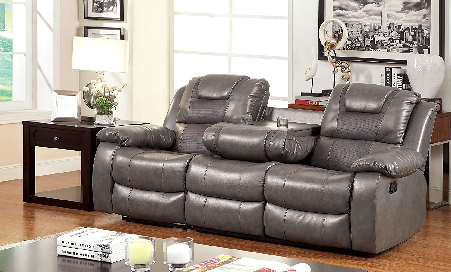 Amazon.com: Furniture Of America Steely 2 Recliner Sofa: Kitchen U0026 Dining