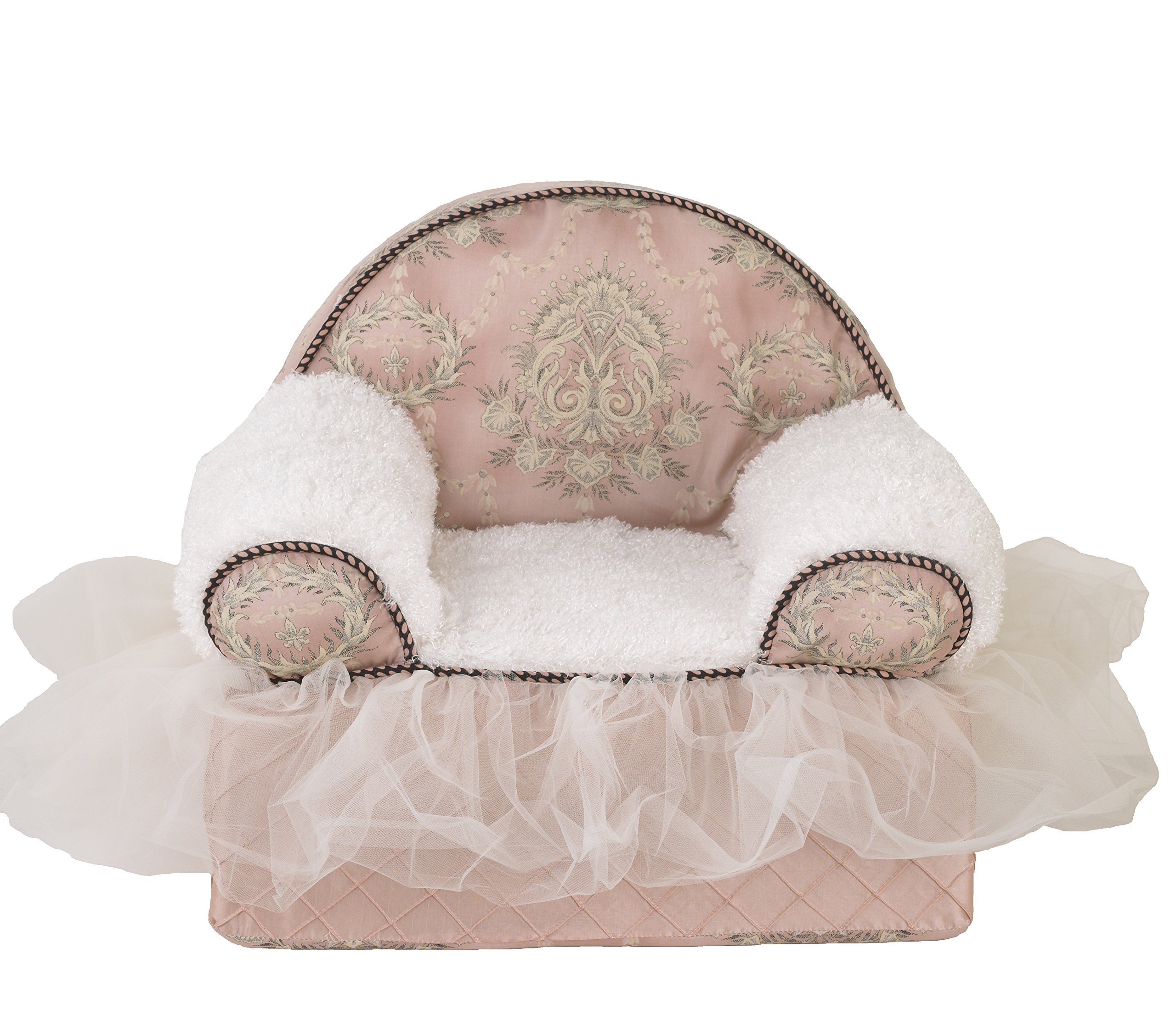 Cotton Tale Designs 100% Cotton Pink Floral with Tulle Ruffle Baby/Toddler Foam Chair, Nightingale