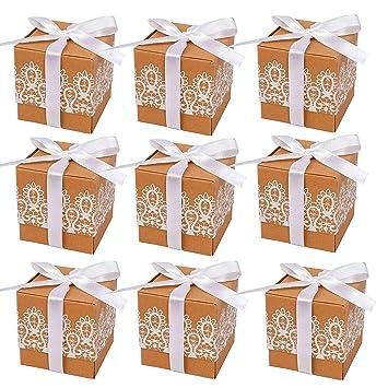Amazon.com: Caja de regalo de papel kraft, cajas de ...