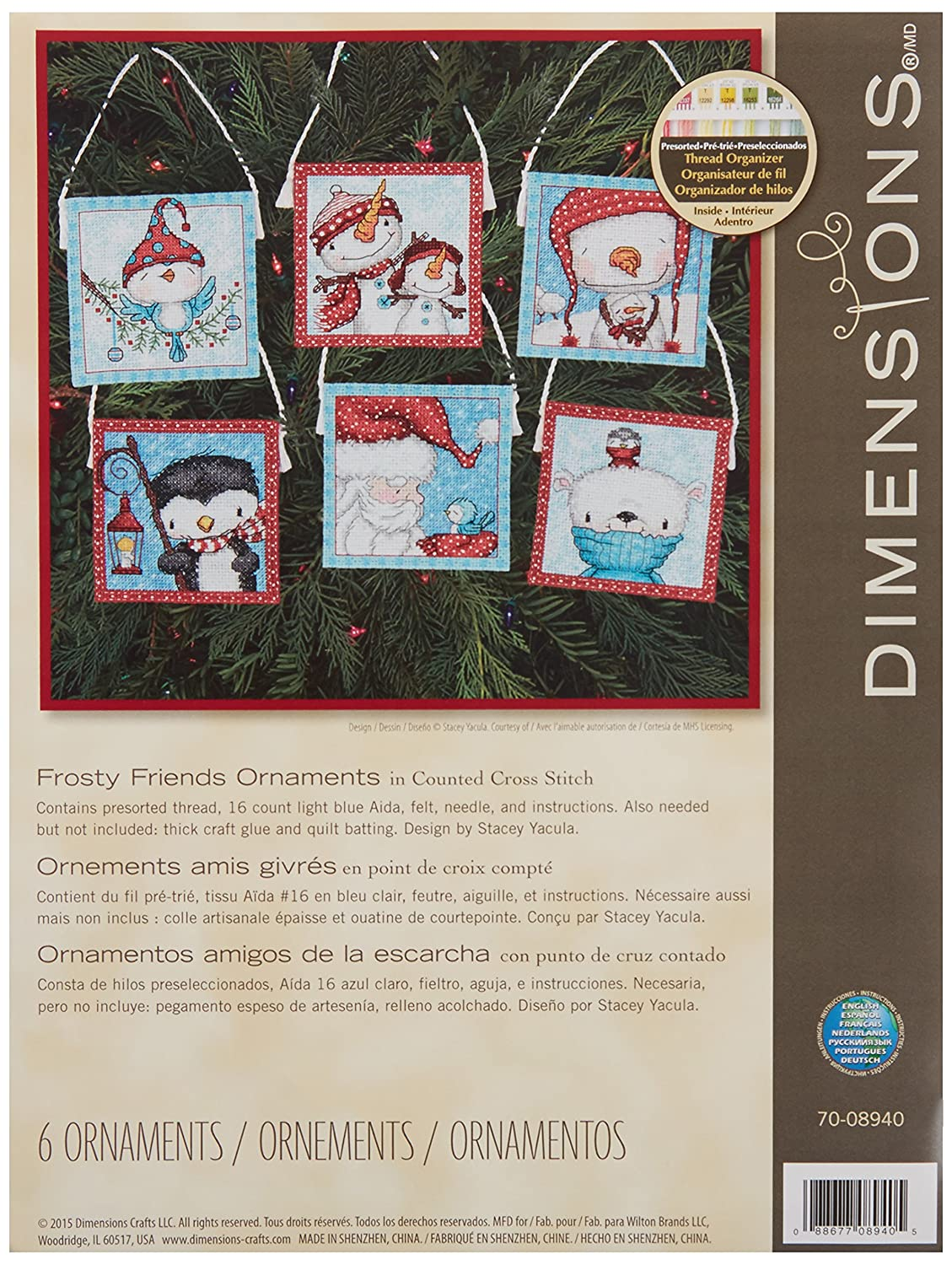 Dimensions Crafts 70-08940 Needlecraft Frosty Friends Ornaments in Counted Cross Stitch IDEAL DESIGN ENTERPRISES CO. LTD