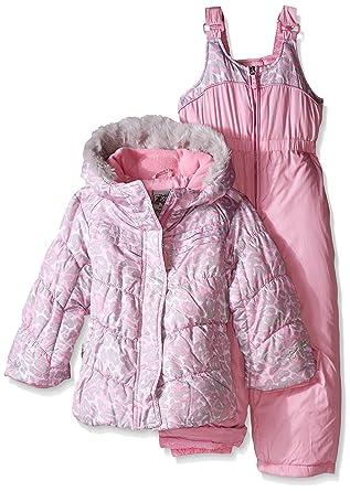 f0f092279 ZeroXposur Little Girls' Puffer Jacket and Bib Snow Pant Set, Pink Leopard,  ...