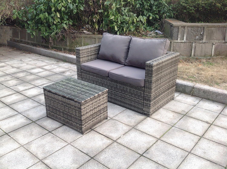 Uk leisure world new twin rattan wicker table sofa conservatory outdoor garden furniture set grey amazon co uk garden outdoors