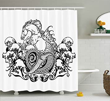 Black And White Shower Curtain By Ambesonne Fantasy Theme Tattoo Effect Mythological Seahorse Pattern Design