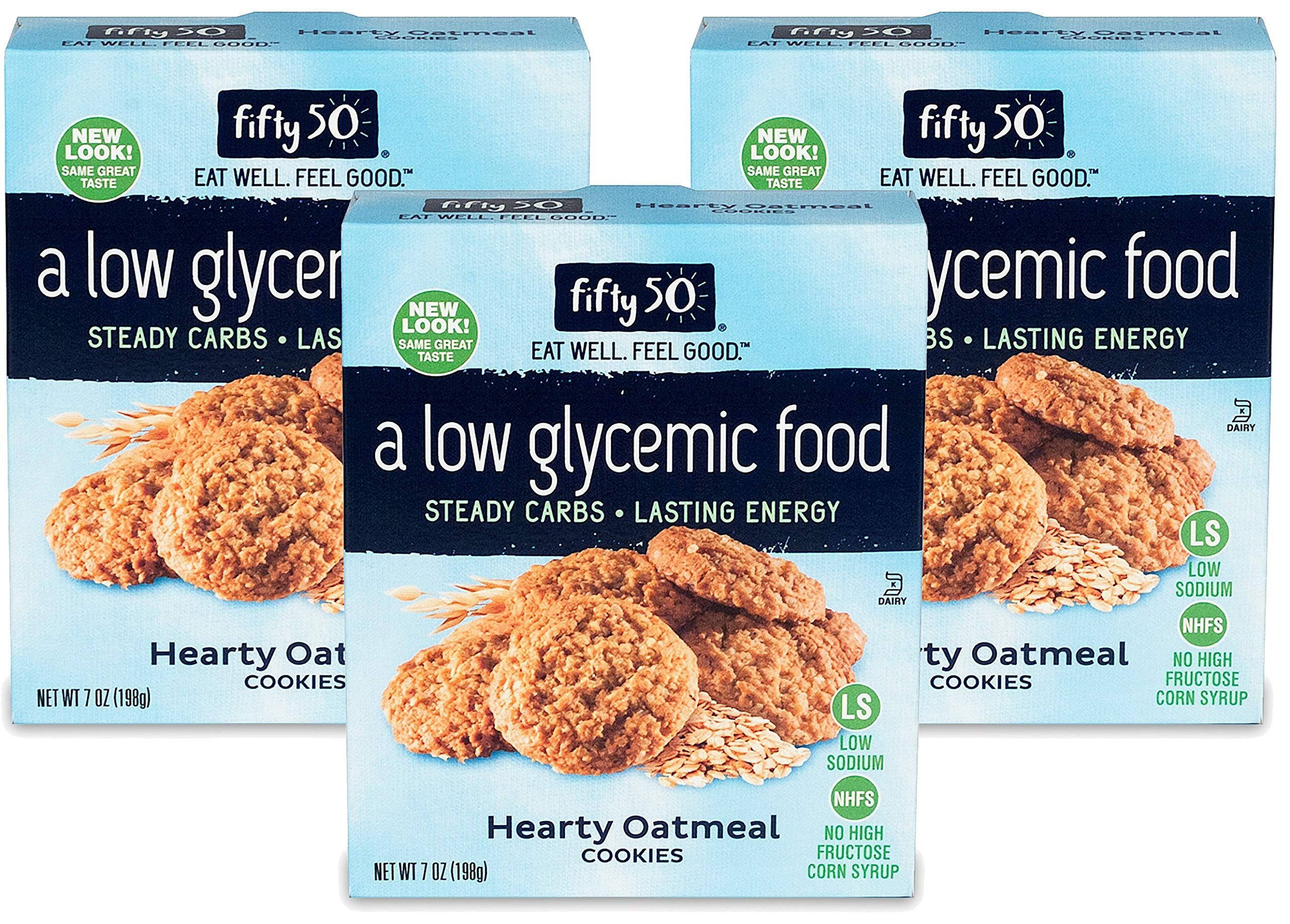 Fifty50 Foods Low Carb, Low Glycemic, Hearty Oatmeal Cookies with No High Fructose Corn Syrup, 7 Ounce (Pack of 3) by FIFTY 50