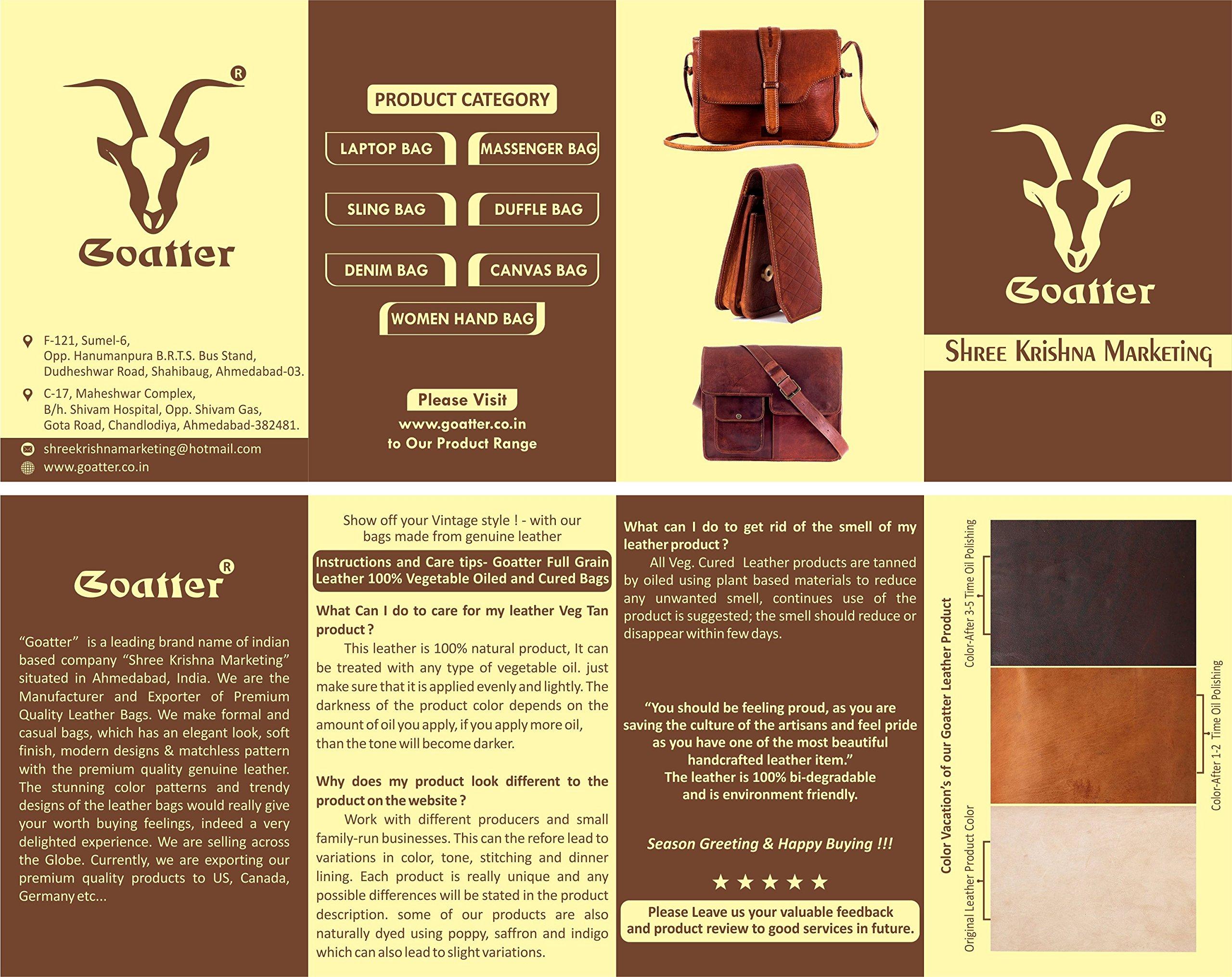 Original Brown Leather Laptop Unisex Messenger Bag By Goatter