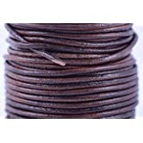KONMAY 25 Yards Solid Round 2.0mm Rich Brown Genuine/Real Leather Cord Braiding String (2.0mm, Rich Brown)
