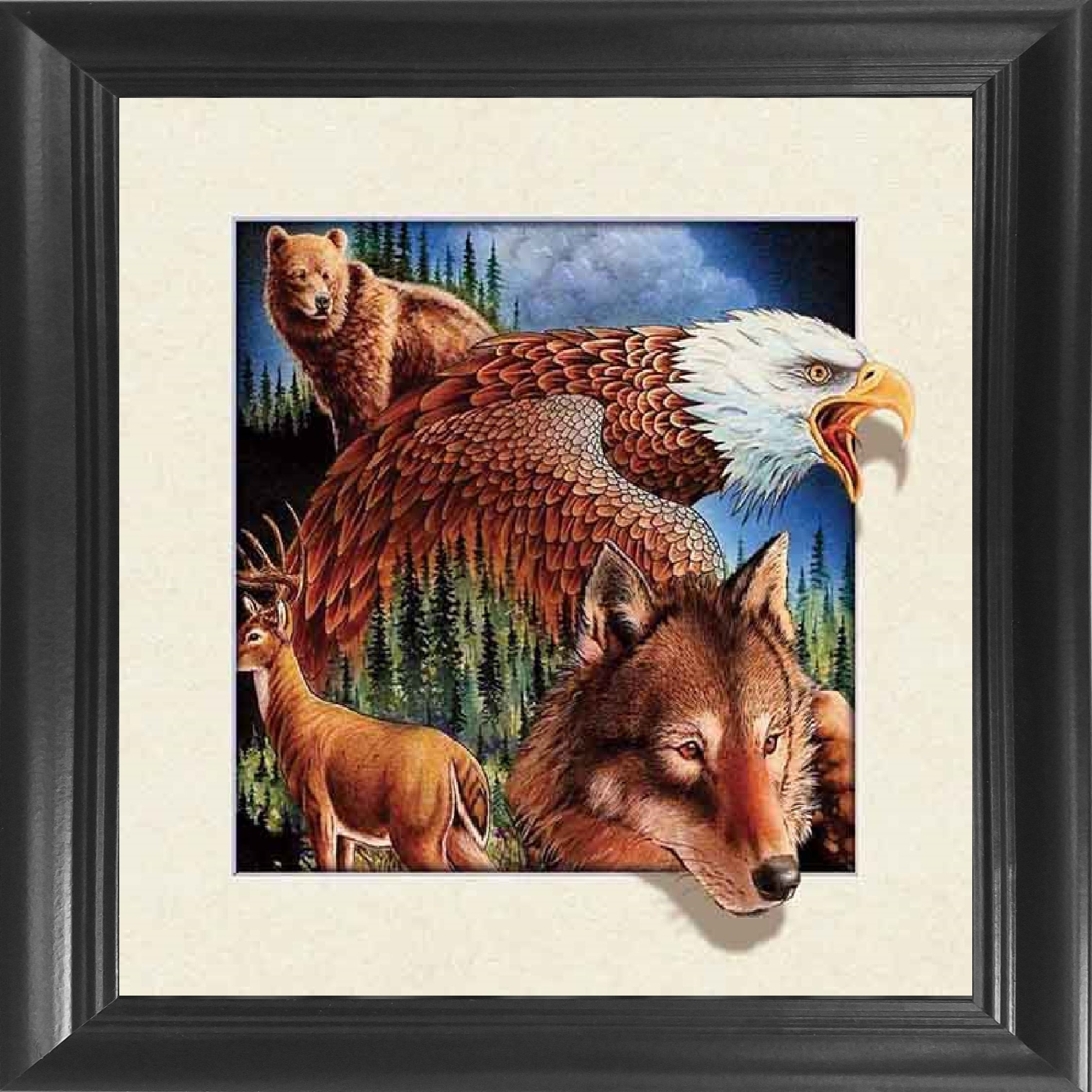 Wild Animals, Wolf, Eagle, Deer & Bear Framed 18.5x18.5'' 5D / 3D Lenticular Picture - Life Like 3D Art Image, Animated Posters, Cool Art Deco, Unique Wall Art Decor, Dozens to Choose From!