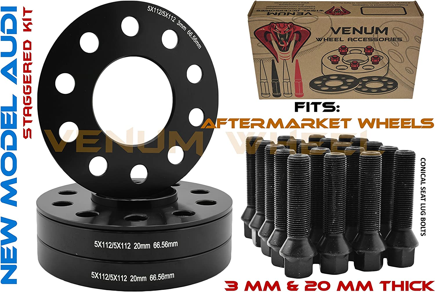 /Àudi S5 RS5 Wheel Spacers 1pr 20mm with Bolts and Locking Bolts for OEM Alloys