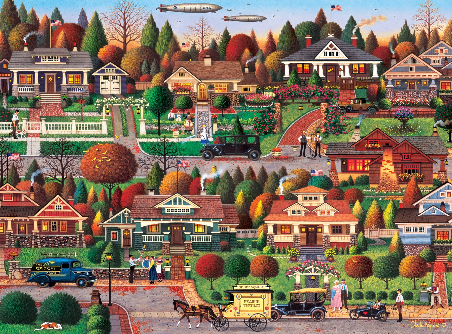 Labor Day in Bungalowville by Charles Wysocki - 1000 Piece Jigsaw Puzzle by Buffalo Games by Buffalo Games 11437