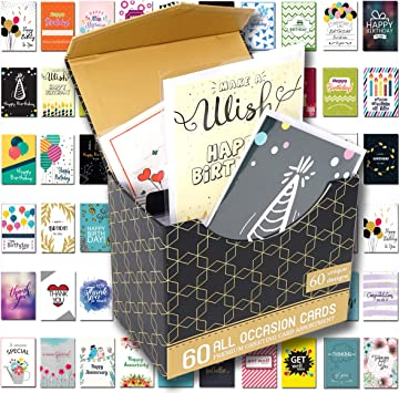 Amazon.com: Paquete de 60 tarjetas de cumpleaños con ...