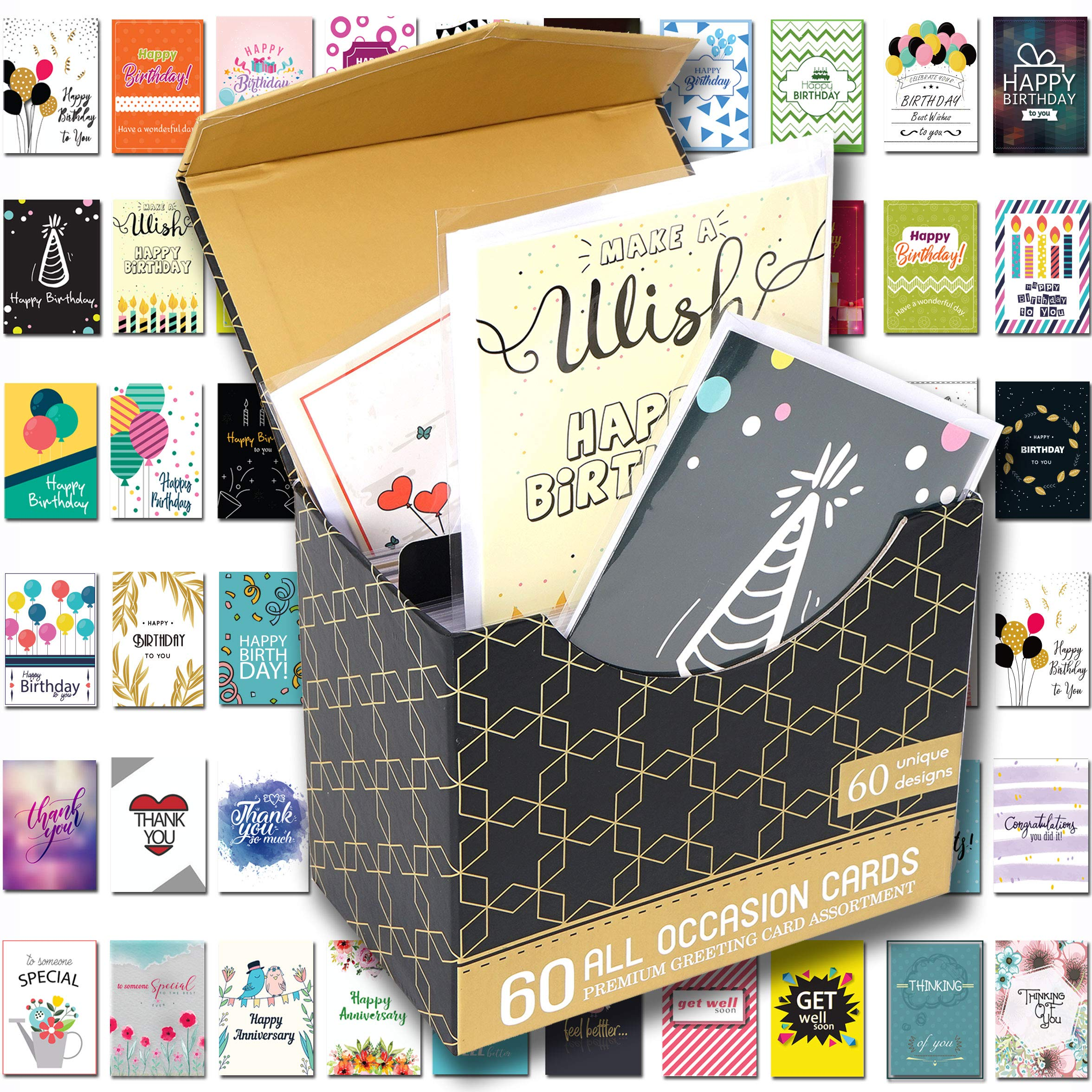 [UPGRADED] 60 Pack Birthday Cards Assortment with Assorted All Occasion Greeting Cards, 60 UNIQUE DESIGN BIG 5''x7'', Happy Birthday, Thank You Cards, Magnetic Bulk Box Set Variety Pack w/Thick Envelope