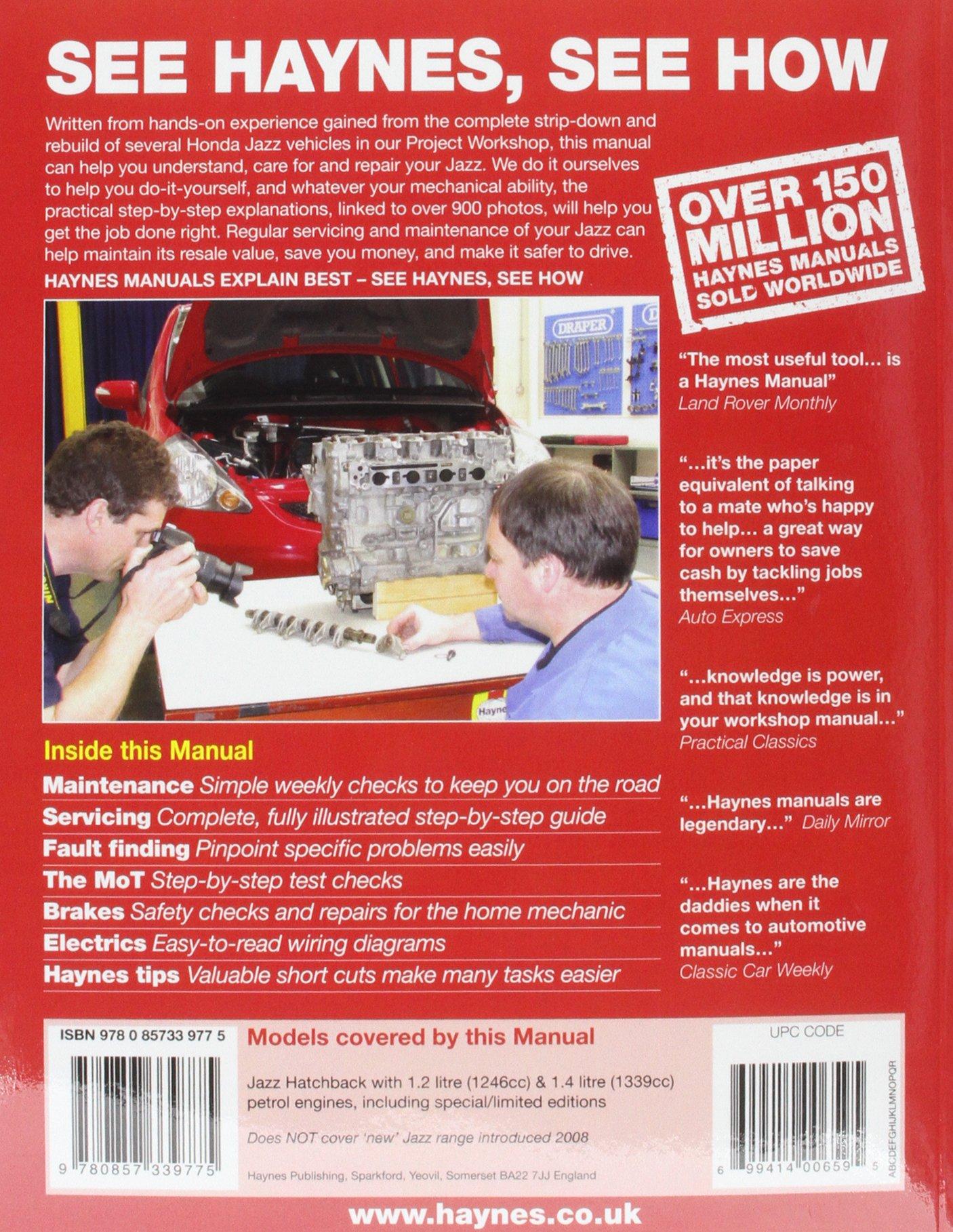 Honda Jazz 02 08 Haynes Repair Manual Haynes Publishing Fremdsprachige Bücher