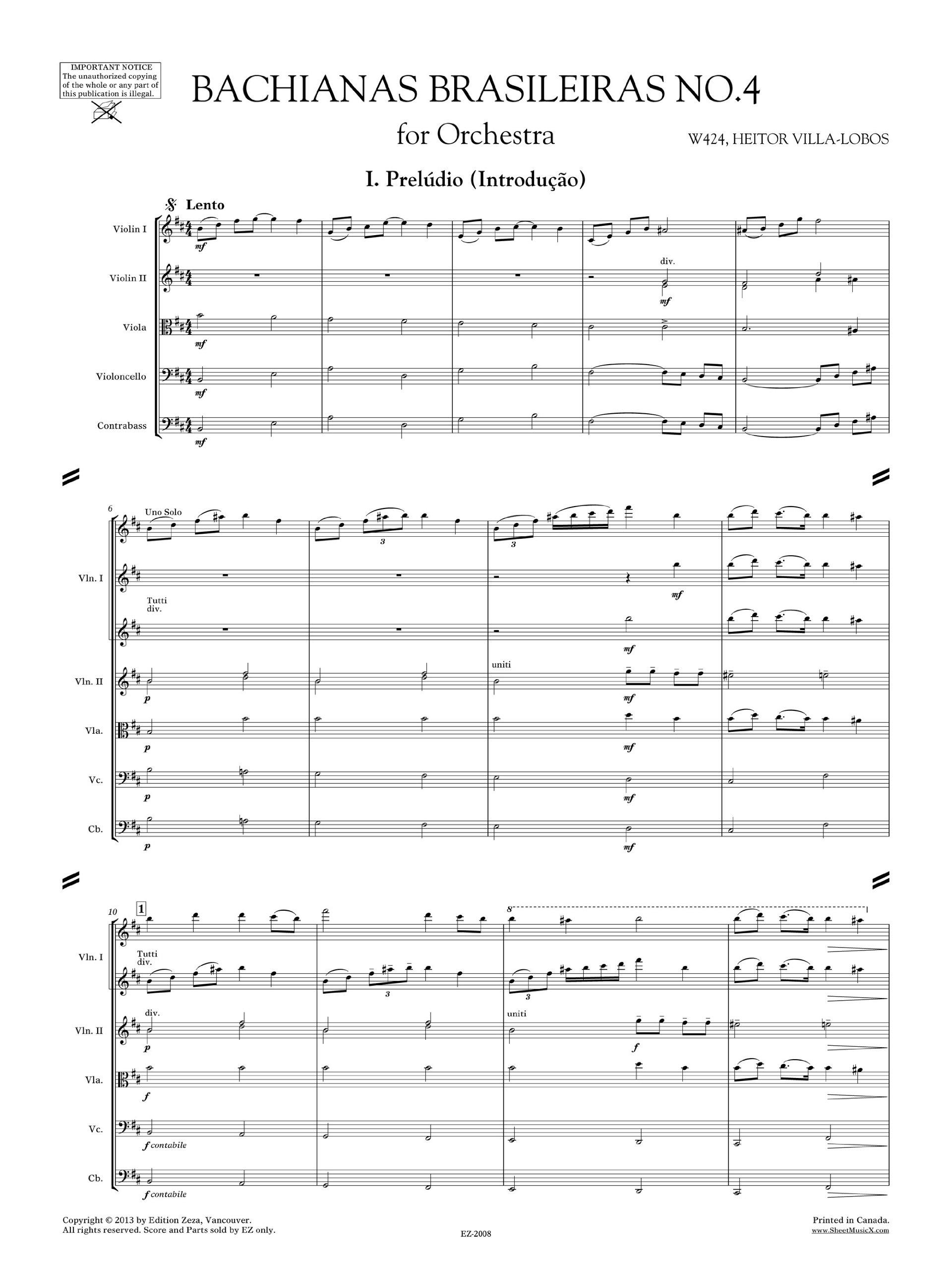 Villa-Lobos Bachianas Brasileiras No.4 for Orchestra W424 (Full Score 9x12) EZ-2008: Heitor Villa-Lobos: Amazon.com: Books